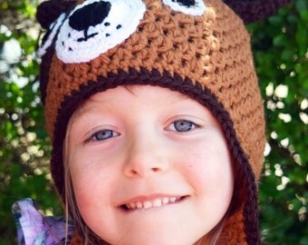 Handmade Crochet Dog hat, Dog hat, Boys hat, Girls hat, Todller hat, Character Hat, Animal hat
