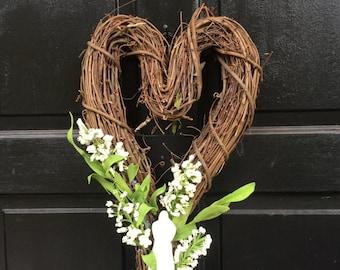 NEW Wedding Wreath, Bridal Decor, Wedding Decor, Heart Grapevine Wreath, 18 in  Wedding Wreath, Bridal Wreath, Wedding Decoration W-7