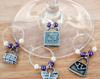 Love to Shop set of 4 Wine Glass Charms - friend gift