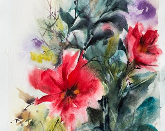 Abstract Original Watercolor Painting, Floral Painting, Red Green, Modern Art
