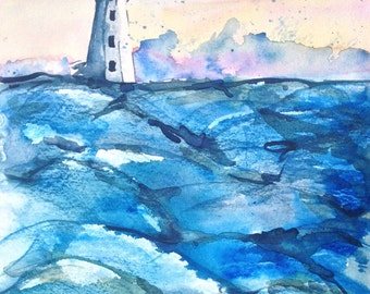 Peggy's Cove Lighthouse Painting - Watercolor Painting Nova Scotia - Original Watercolor Seascape