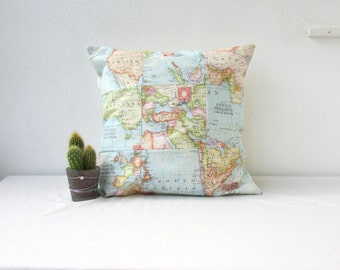 Patchwork cushion cover, map print pillow cover, 16 inch patchwork pillow, quilted cushion cover, gift for traveller, handmade in the UK