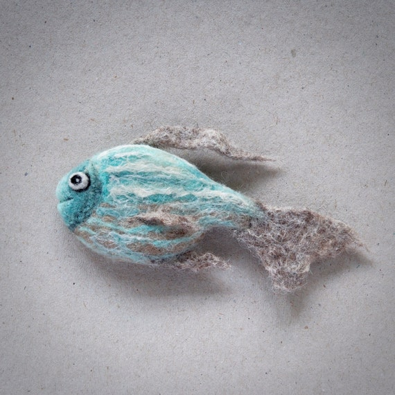 Needle felted fish brooch by the lady moth wet felted fish for Is a fish wet