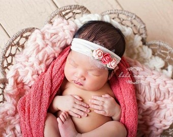 Newborn/Infant Peach & Coral Floral Headband on Super Soft Nylon/Stunning Newborn Headband/Very Unique/Photo Prop/Infant Headband