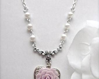 You Are The Rose of My Heart Pendant Necklace, Light Purple Rose Silver Heart Necklace, Lavender Rose Flower Necklace, Floral Jewelry