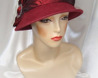 Burgundy 1920s Wool Cloche Hat, Downton Abbey and Phryne Fisher Inspired Hat