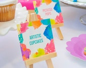 Neon Art Birthday Party Printables - Paint Splatter Food Buffet Cards , Place cards, tags - Editable Text (Instant Download)