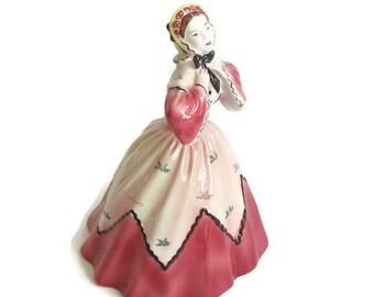 Goldscheider Everlast 1940s, The New Bonnett, Signed Peggy Porcher, Victorian Lady, Pink Dress, Yellow Sun Bonnett, Porcelain Figurine