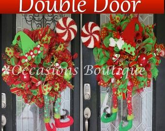 Christmas Double Door Wreaths, Elf Wreaths, Holiday Wreaths, Wreaths for Double Doors, Christmas Decoration