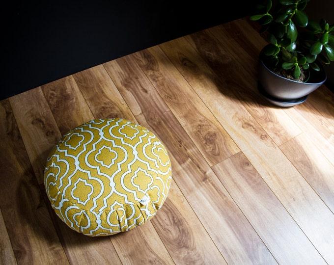 Traditional zafu organic buckwheat Meditation cushion Mustard Yellow cotton pouf with handle by Creations Mariposa ZT-Md
