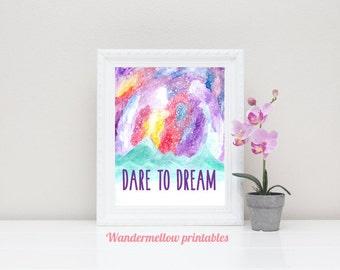 Galaxy Dare To Dream Printable Art, Galaxy Unicorn art, Instant download, Home decor, Prints,  Printable