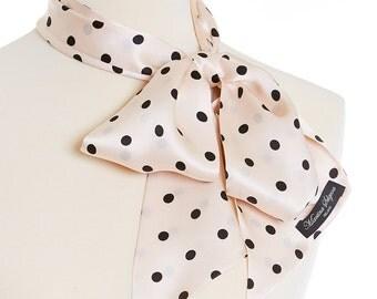 Silk Scarf, Polka Dot Silk Scarf, Polka Dot Print, Inspired by Audrey Hepburn, Silk Satin Scarf, Designer Silk Scarf, Made in Ireland