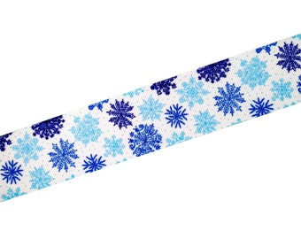 "1.5"" Modern Winter Grosgrain Ribbon by the Yard - Blue Holiday Snowflakes"
