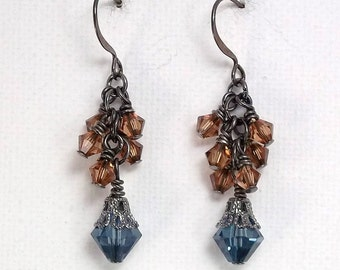 Denim Earrings • Blue & Brown Crystals • Cluster Earrings • Swarovski Earrings