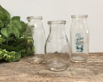 Antique Glass Milk Bottle Collection Half Pint School Milk Clear Glass Meadow Gold Woodbrook West Side Vase Home Decor Cottage Shabby Chic
