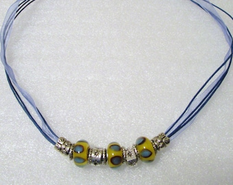 900 - NEW Blue Beaded Necklace