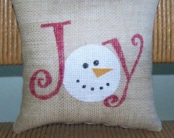 Joy snowman pillow, Christmas pillow, Snowman pillow, Joy pillow, Christmas decor, Burlap pillow, stenciled pillow, FREE SHIPPING!