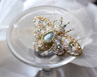 Flying Beetle brooch Spring wedding Aquamarine blush pink Bridal brooch Pastel colour palette Nature motifs Romantic look Designer's jewelry