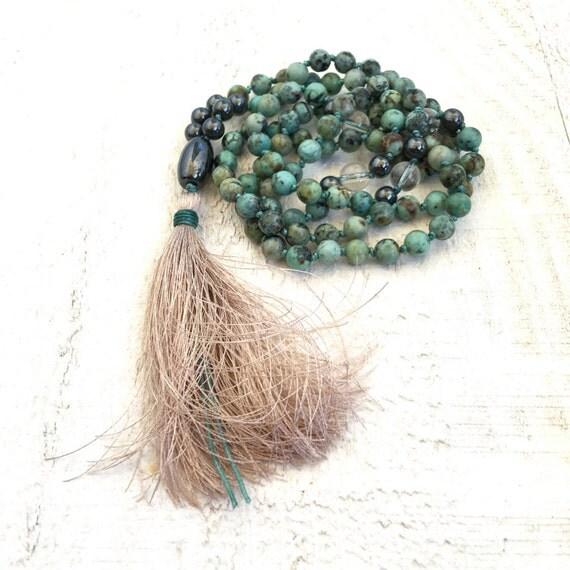 African Turquoise Mala Beads, 108 Bead Tassel Mala Necklace, Turquoise Mala, Yoga Jewelry, Gemstone Mala Beads
