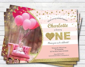 Valentine 1st birthday invitation. Red or Pink and gold glitter heart girl 1st first birthday. Any age. digital printable photo invite VKB01
