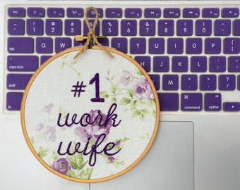 Work Wife Gift for Coworker- Funny Embroidery - Office Spouse - Cubicle Decor Desk Accessories - Purple Green Needlepoint Ready to Ship