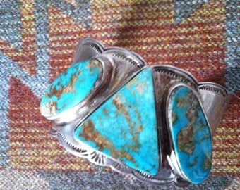 OLD PAWN BRACELET Vintage Indian Jewelry Native American Navajo signed B P Sterling Silver Cuff Southwestern Turquiose Tribal Aztec