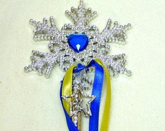 Fairy Wand. SUNSHINE YELLOW & ROYAL Blue Wand. Silver Fairy Charm. Heart Wand.Mystical Wand. Ribbon Wand. Celestial Wand.