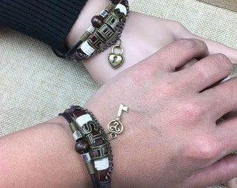 His Hers Couples Bracelet, Lock and Key Leather Bracelet, Boyfriend or Girlfriend Gift, Birthday Gift CP-368