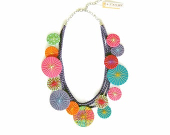 Statement Textile Necklace, Fabric Necklace, Colorful Circles, Bright Necklace,  Fabric Jewelry, Statement Jewelry, Gift for Her