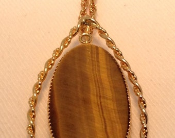 Vintage Tigers Eye Pendant.  1980's Russel made