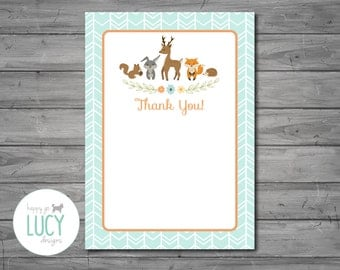 Woodland Thank You Card, woodland baby shower, woodland theme, deer, fox, baby shower, thank you, DIGITAL FILE