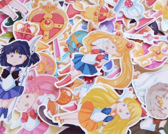 Sailor Moon Stickers - Sailor scouts, cats and magical items/accessories