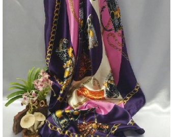 Women satin scarf, Purple-pink retro chains print square scarf, large size purple bandana, Shawl Christmas scarf, gift for her under 15
