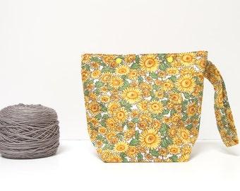 Sunflower knitting bag, small project bag with snaps, sock project bag, yarn travel bag, knitting supplies, crochet bag, gift for knitter