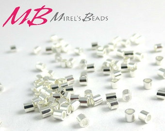 200 2x2mm Silver Plated Crimp Beads, 2x2 Crimp Tubes