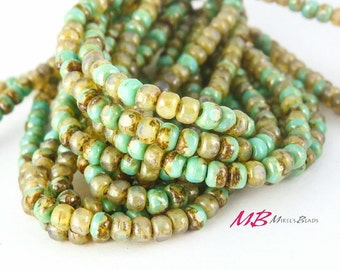 4x3mm 50 pcs Turquoise and Champagne Czech Beads, Tiny Bead Mix