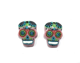 Halloween Sugar Skulls Miniature Embellishment for Decoden Day Of The Dead Dia De Los Muertos Set of 2 Flat Back Halloween -