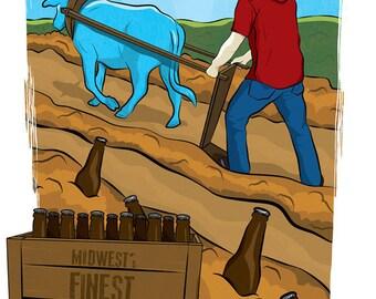 Beer Garden Paul Bunyan Poster Digital Art Print