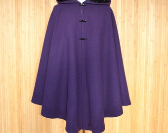 Cashmere Wool Cape, Purple Hooded Cape, Wool Hooded Cloak, Hooded Cape Coat, Wool Hooded Poncho, Winter Wool Jacket, Medieval Clothing