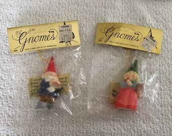 Unieboek Gnome Ornaments,  Gnomes, Gnomes #2302, 1979, New in Pkg,  Uniebock Gnomes, Gnome Ornaments, Will Huygen, Rien Poortvliet,