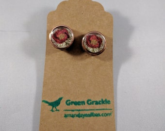 Poppy or peony stud earrings