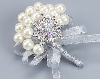 Elegant Silver Boutonniere - Pearls and Rhinestones