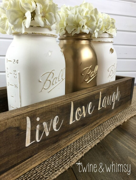 Items similar to mason jar centerpiece wood box