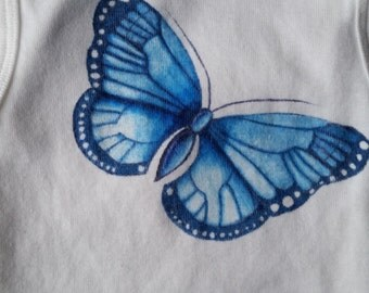 Blue Butterfly; 12 month onesie