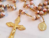 Rosary - French Pink Hand-Painted Glass Saint Mary Magdalene - 18K Gold Vermeil