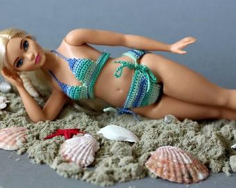 Curvy Barbie doll clothing - modern bikinis for new fashionistas with curvy body, sunbathing costume for fashion doll
