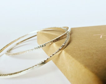 Textured Silver bangles set