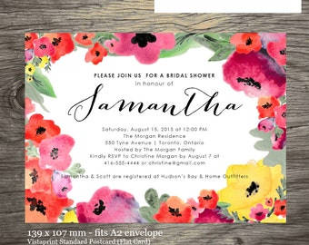 Bridal Shower Invitation Printable or E-Invitation, Watercolour Floral, Customizable, Ready to Print/Send by Email