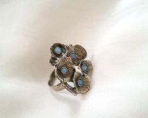 Large flower ring , Flower ring , bouquet ring , silver ring , Opal ring , unique silver ring , Large ring , floral ring , Gemestone ring
