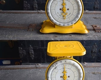 Pelouze Household Scale - Canary Yellow - Antique Home Balance - Made in USA - Vintage Industrial Decor - PELOUZE Mfg Co. - 1940s